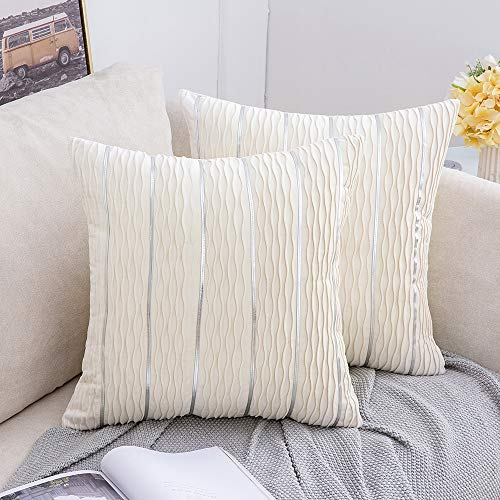 MIULEE Christmas Square Cushion Cover Velvet Cream Throw Pillow Case Decorative Jacquard 3D Wave and Silver Stripe Bars Home for Sofa Bedroom Living Room 45 x 45cm 18 x 18 Inch Set of 2