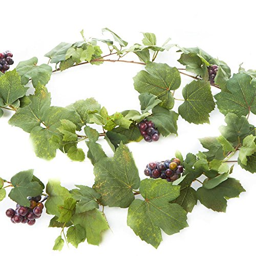 Factory Direct Craft 6 Feet of Artificial Grape Leaf And Grape Cluster Garland