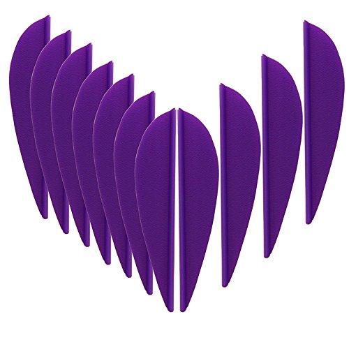 Mangobuy 100pcs 2 Pulgadas de plástico Amarillo/Púrpura Flecha Paleta TPU Fletching para Bricolaje Flecha Arco Tiro con Arco (Púrpura)
