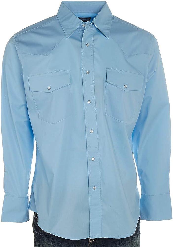 Wrangler Mens Airy Blue Solid Long Sleeve Snap Shirt
