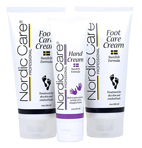 Nordic Care Foot Care Cream 6 oz. (Pack of 2) Plus Hand Cream. Hydrates Feet and Treats Severely Cracked Heels.