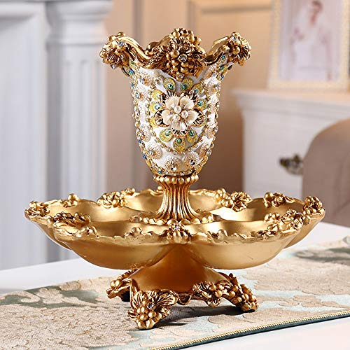 FAGavin Deko Geprägte Fünf Gitter Getrocknet Obstschale Eingelegten Diamanten Luxuxhauptwohnzimmer Couchtisch Vase Ornamente Kreative Süßigkeiten Teller Obstteller