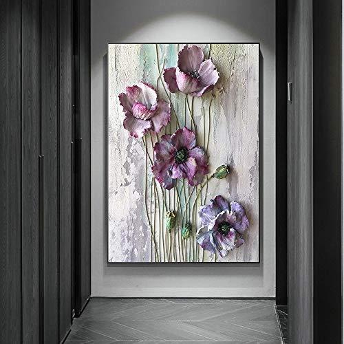 Mubaolei Cartel de Flor púrpura Arte de Pared Lienzo Impreso Pintura Moderna púrpura Floral Naturaleza decoración del hogar Imagen 60x80cm