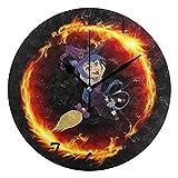 アートファイアドラゴンマジシャンラウンド壁時計円形プレートサイレント非カチカチ時計キッチンホームオフィス学校の装飾子供男の子女の子