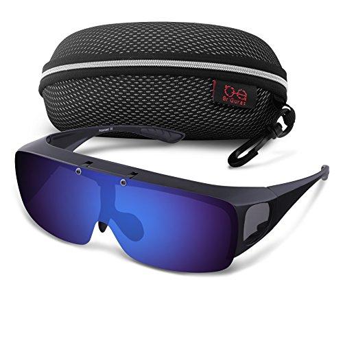 Br'Guras サングラス スポーツ 運転用サングラス メンズ 偏光 UV400 紫外線カット メガネの上から掛け 跳ね上げ式 防風防砂 自転車/釣り/ランニング (ブルーミラー)