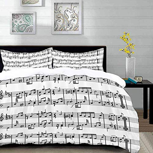 Yaoni Bedding Juego de Funda de Edredón - Música, Notas Musicales en la ilustración de la Clave artística, Estampado artístico,/Microfibra Funda de Nórdico y Fundas de Almohada - (Cama 150 x 200cm)