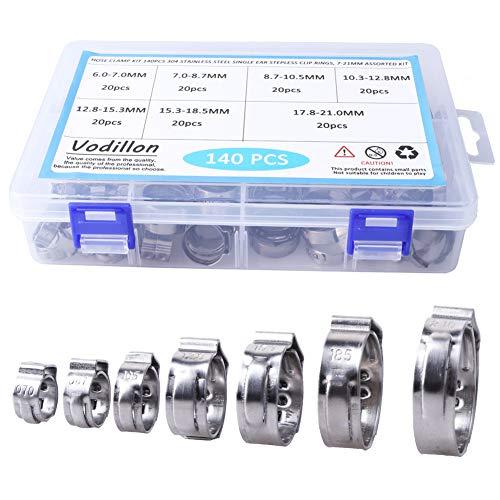 Abrazaderas de manguera Kit de acero inoxidable 304, anillos de clip sin orejas de un solo orificio 140PCS, kit surtido 7-21 mm