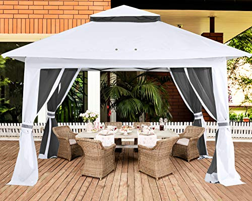 ABCCANOPY 3.6x3.6 Pop up Gazebo Tent Outdoor Canopy Shelter with Mosquito Netting (White)