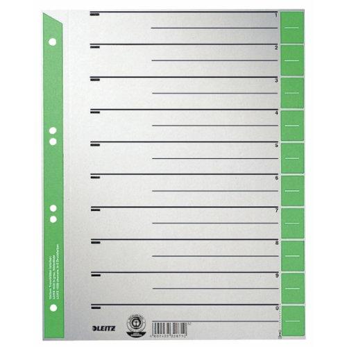 Leitz 16523055 Trennblatt, A4, Karton, farbig bedruckt, 25 Stück, grün