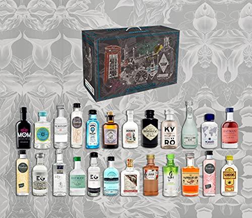Gin Tasting Adventskalender Geschenk Probierset - 24 verschiedene Gin Sorten - Weihnachtsgeschenk Geschenkset Kalender