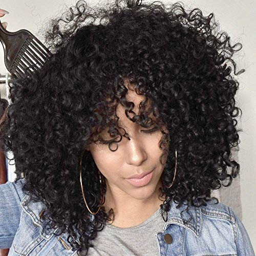 AISI BEAUTY Afro Kinky Curly Wigs for Black Women Short Curly Afro Wigs for Cosplay Halloween Shoulder Length Full Wigs Synthetic Heat Resistant Wigs with Bangs (Color:1B#)