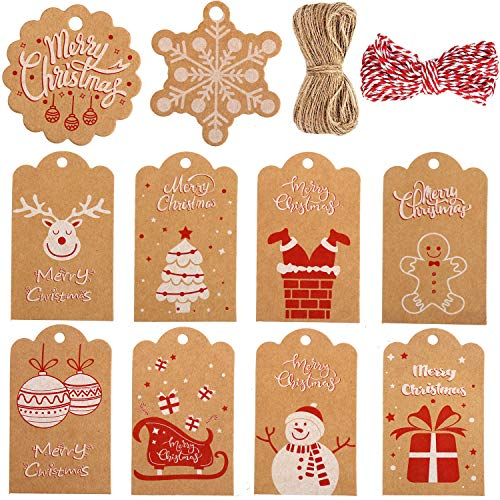 VEYLIN 100Pcs Christmas Kraft Paper Gift Tags with Ribbon, Xmas Holiday Present Wrap Card for Christmas Party Favor