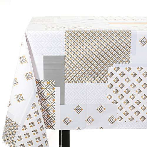 Vinylla Mantel de PVC diseño geométrico fácil de Limpiar, 140 x 240 cm