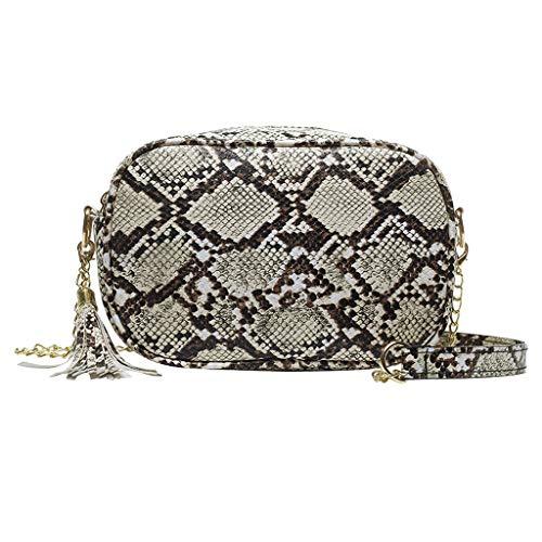Linkay Neuer HeißEr Verkauf Mode Wild Damen Schlangenmuster Tasche Handtasche Quasten Vielseitig UmhäNgetasche Rucksack (Khaki