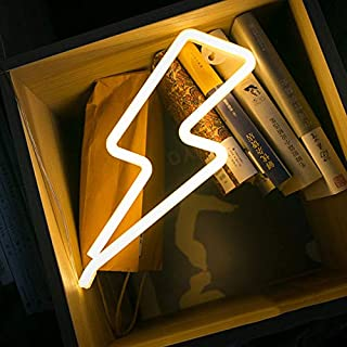 Lightning Bolt Neon Signs,Creative LED Lightning Decor Light Neon Sign,Wall Decor for Home,Birthday Party,Kids Room, Living Room,Wedding Party Decor (Warm White)