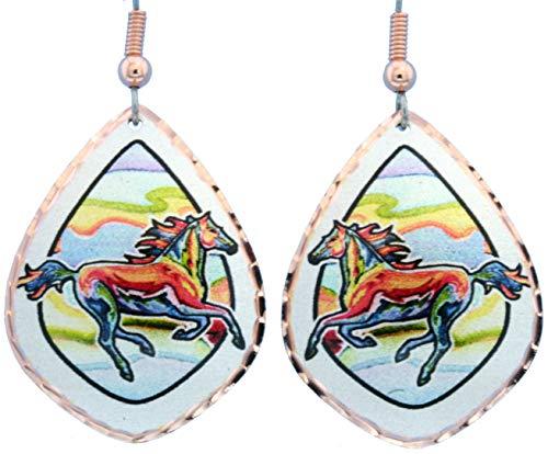 Pendientes de cobre de lobo, alce, águilas, cuervos, caballo, sasquatch, Santa Fe, varias formas con diseño de arte abstracto.