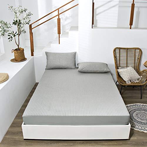 haiba Sábana bajera de franela de algodón cepillado de lino o fundas de almohada, sábana bajera térmica suave y acogedora, 180 x 200 + 28 cm
