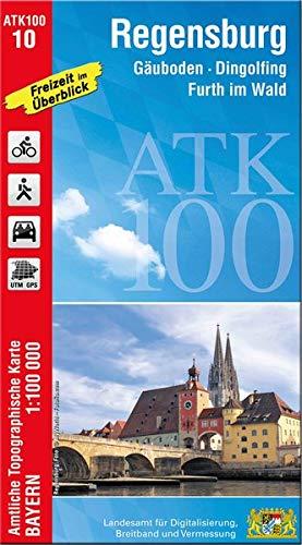 ATK100-10 Regensburg (Amtliche Topographische Karte 1:100000): Gäuboden, Dingolfing, Furth im Wald, Bayerischer Wald, Oberpfälzer Seenland, Hallertau, ... Topographische Karte 1:100000 Bayern)