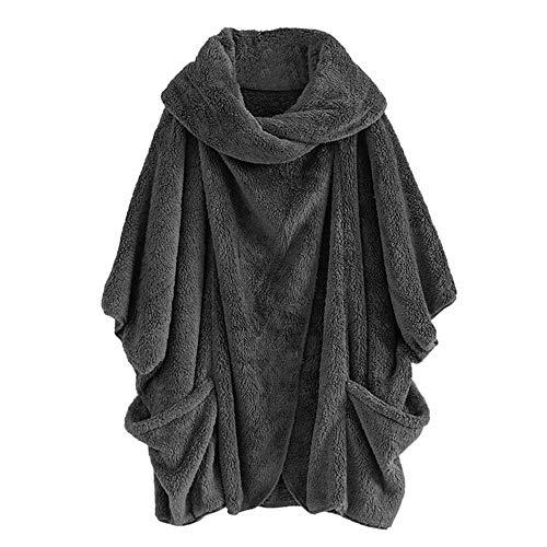 IZHH Damen Mantel Lässig Feste Rollkragenpullover Große Taschen Mantel Mäntel Vintage Oversize Mäntel Doppelseitige Plus Größe Stehkragenärmel Lose Mantel(Grau,XXX-Large)