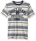 Lucky Brand Little Boys' Short Sleeve Graphic Tee Shirt, Whisper White Stripe, 6