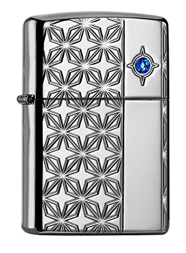 Zippo PL Windmill Emblem Feuerzeug, Chrom, Limited Edition 500 Stück (Blue Star), 6 x 4 x 2 cm