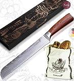 Caridano® - Juego de cuchillos para pan con bolsa de pan - Cuchillo de cocina con mango de madera de pakka - Juego de cuchillos para pan de acero de con filo ondulado láser de Damasco