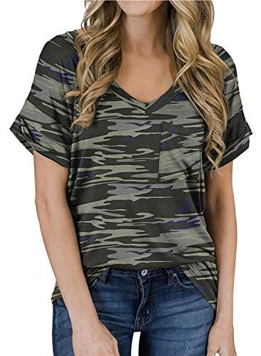 MIHOLL Women's Short Sleeve V-Neck Shirts Loose Casual Tee T-Shirt (B_ Army Green, XX-Large)
