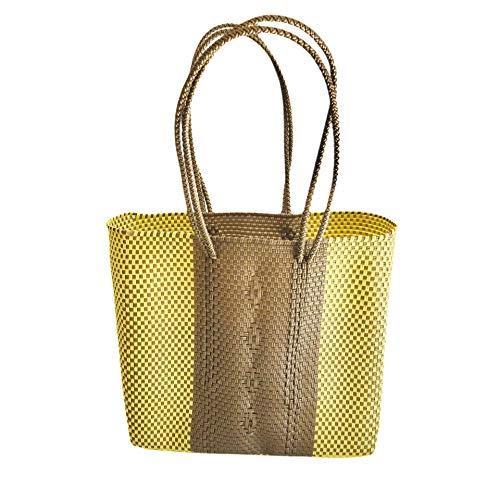 Mexican Hand woven in yellow - Bolso Tote - Mexican woven Tote Bag - Bolsos Mexicanos Artesanales -Bolsa de Playa - Woven plastic beach bag - Bolsa de playa - Otomi Mexico bolso