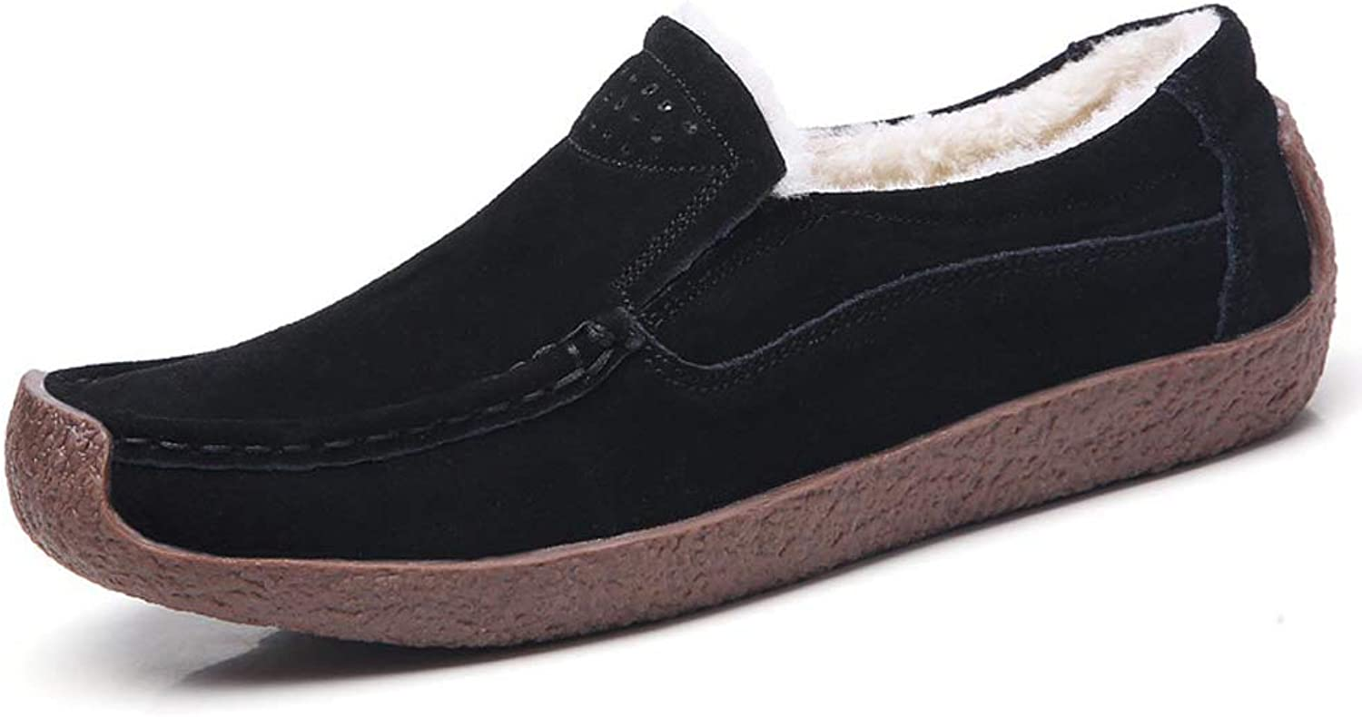 Qiucdzi Womens Suede Loafer Comfortable Driving&Walking shoes Slip-on Casual Moccasin