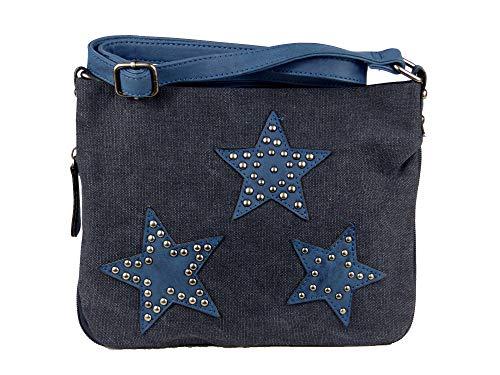 yourlifeyourstyle Umhängetasche Canvas aufgenähte Sterne und Nieten Maße 27 x 20 cm ohne Schulterriemen - Damen Mädchen Teenager Tasche (blau)