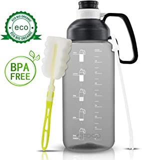 Opard Half Gallon Water Bottle with Straw Handle and Time Marker 64oz Large Capacity Water Jug for Sports Gym Camping Travel (Black)