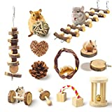 JOUEUYB Hamster Chew Toys, 12 Pack Natural Wooden Pine Guinea Pigs Rats Chinchillas Toys Accessories, Exercise Bell Roller Teeth Care Molar Toy Dumbells for Bunny Valentine's Day Gifts