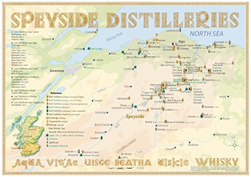 Whisky Distilleries Speyside - Tasting Map 34x24cm: The Whisky Landscape in Overview