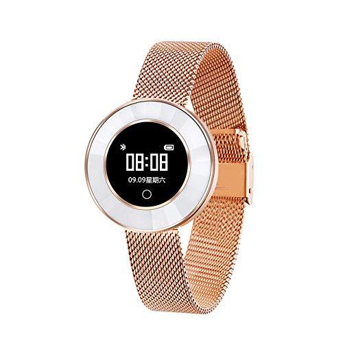 Fitness armband, IP68 waterdichte oefening hartslag bloeddruk slaap monitoring multi-action modus herinnering stappenteller, smart horloge, goud, Goud