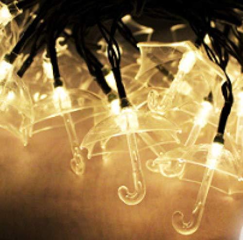 LED Solar String Lights Umbrella Shaped Lantern Outdoor Waterproof Decorative Lights Creative Light String 6m 30 Lights B