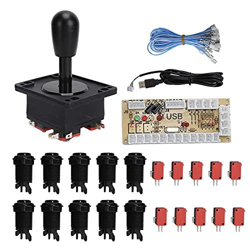 Les-Theresa Juego de Arcade Kits de Bricolaje Accesorios de Joystick con Adaptador de Placa codificadora USB para Juegos de PC(Negro)