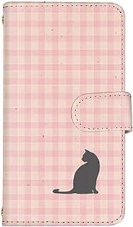 スマ通 Android One X2 国内生産 ミラー スマホケース 手帳型 HTC エイチティーシー アンドロイド ワン エックスツー 【2-ピンク】 猫 チェック ビンテージ風 q0004-c0130