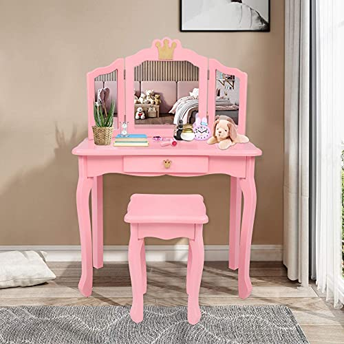 JOYMOR Kids Vanity Set with Mirror, Princess Vanity Table and Chair Set with Tri-Folding Mirror, 2 in 1 Makeup Dressing Table with Detachable Top, Girls Pretend Beauty Play Vanity Set