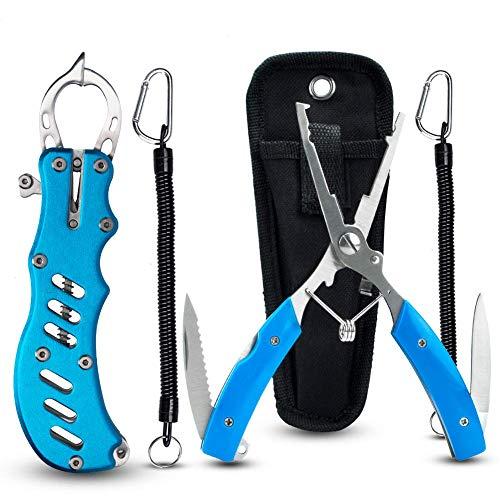Zitrades フィッシュグリップ 防錆素材フィッシュプライヤー 専用ケース及び安全ロープ付属 魚掴み器 釣り具 キャッチャー アルミ合金 ナイフ内蔵 収納ケース
