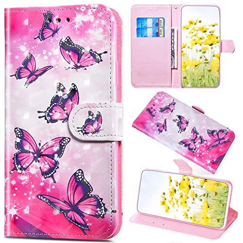 Saceebe Compatible avec LG G6 Coque Paillette Glitter Bling Cuir Portefeuille Étui à Rabat Pochette Housse de Protection Flip Case Magnétique Porte-Cartes Stand,Rouge Papillon
