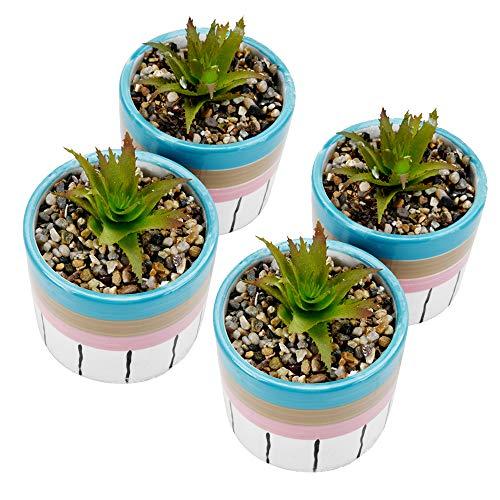 SUN-E 12 cm Kunststof Mini Planten met Pot Unieke Groene Succulent In Ronde Keramische Pot Voor Plank Keuken Counter Office Decor Potted Home Bruiloft Decoratie (4PCS, Rond)
