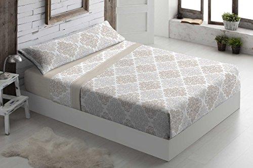 Foren Tex - Juegos de sábanas, (S-Brisa Beige, Cama 90 cm), pirineo, para Invierno térmicas de 110 g/m2