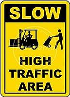 Slow High Traffic Area 金属板ブリキ看板警告サイン注意サイン表示パネル情報サイン金属安全サイン