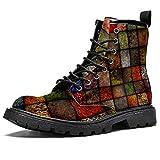 Piazza terra tono texture scarpe impermeabili piatto pizzo stivaletti tacco basso lavoro combattimento stivali, (Texture Square Earth Tone), 42 2/3 EU