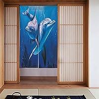 イルカ戸口カーテンロングタペストリードアカーテンインテリアディバイダーホームキッチンベッドルームバスルームリビングルームオフィス3Dプリント 86 x 143 cm