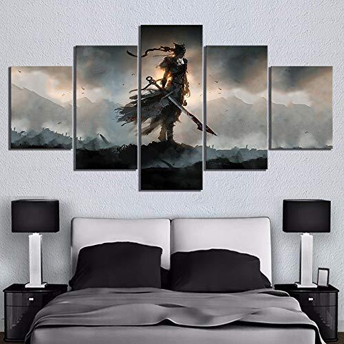 Shentop Leinwanddruck Wandkunst Leinwand Malerei Modulare Bilder Krieger Hellblade Senuas Bieten Video Home Decoration Poster Bett Hintergrund-Kein Rahmen