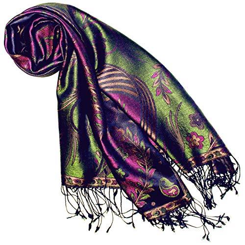 Lorenzo Cana Pashmina Damenschal Schaltuch jacquard gewebt 100% Seide 70 x 190 cm Paisley Muster Seidenschal Seidentuch Seidenpashmina harmonische Farben