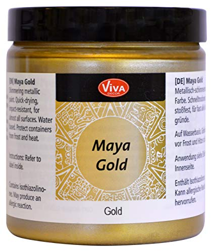 Viva Decor® Maya Gold (Gold, 250 ml) glänzende Metallic Farben zum Basteln - Acrylfarben Gold Metallic für Holz, Pappe, Beton, Papier, Leinwand uvm. - Made in Germany