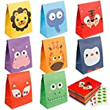 Mocoosy 24 Pack Animal Party Favor Bags - Kids Goodie Bags for Birthday Party, Animal Candy Treat...