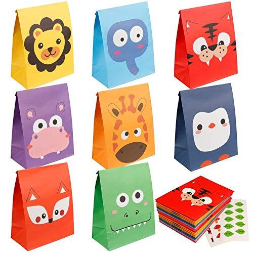 Mocoosy - 24 bolsas de regalo para fiestas de animales, bolsas de golosinas para niños de la selva, animales, zoológico, cumpleaños, baby shower, suministros para fiestas, color arcoíris, 8 estilos